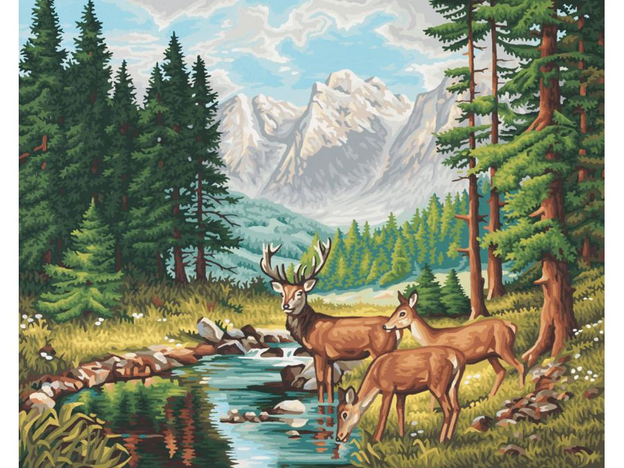 Schipper - Peinture aux numeros - Paysage de montagnes paisibles - Cadre 40/50