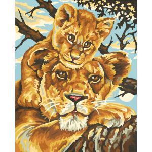 Schipper - 609240383 - Peinture aux numeros - KIDS - mere lionne 24x30cm (137556)