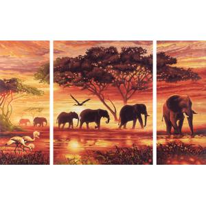 Schipper - 609260455 - Peinture aux numeros - Caravane d 'elephants - Cadre 50/80 (137596)