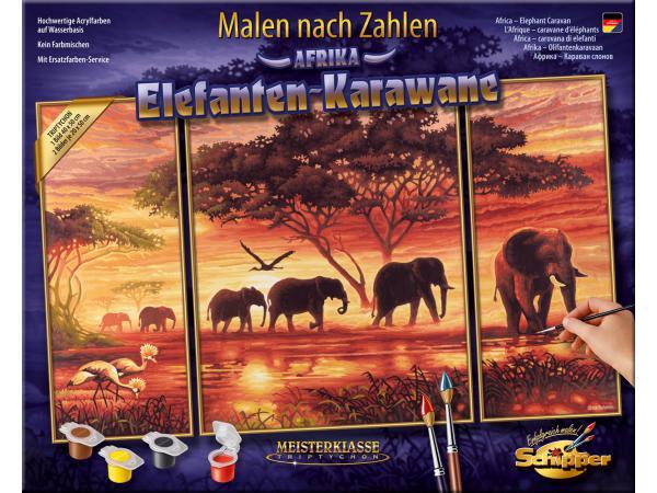schipper peinture aux numeros caravane d 39 elephants cadre 50 80. Black Bedroom Furniture Sets. Home Design Ideas