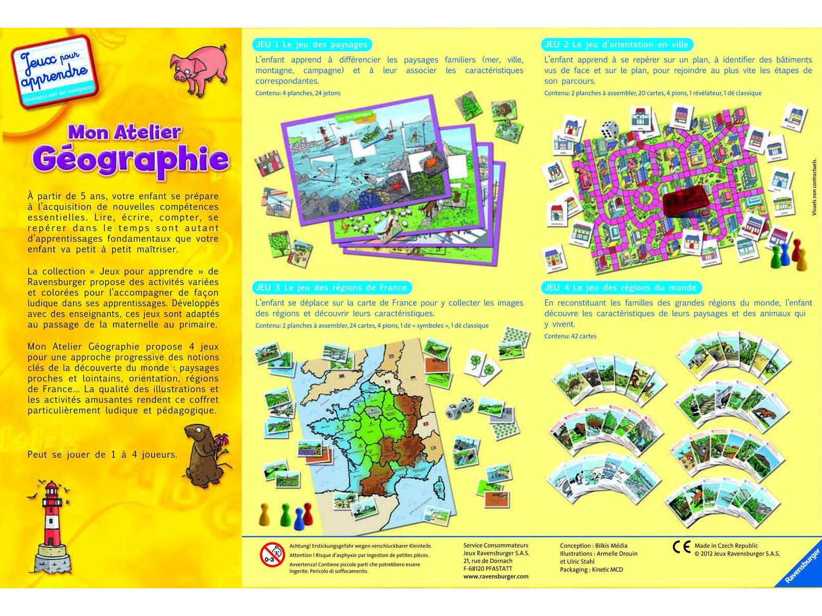 ravensburger jeux pour apprendre moyens coffrets mon atelier geographie. Black Bedroom Furniture Sets. Home Design Ideas