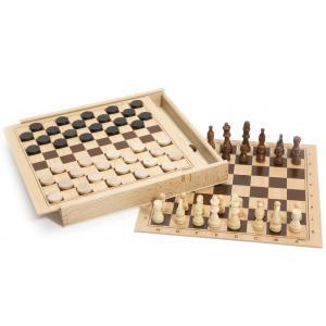 Jeujura - 8133 - Jeux de dames et d'échecs - coffret en bois (159628)