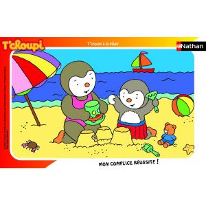 Nathan puzzles - 86096 - Puzzle cadre 15 pièces - T'choupi à la plage (159949)