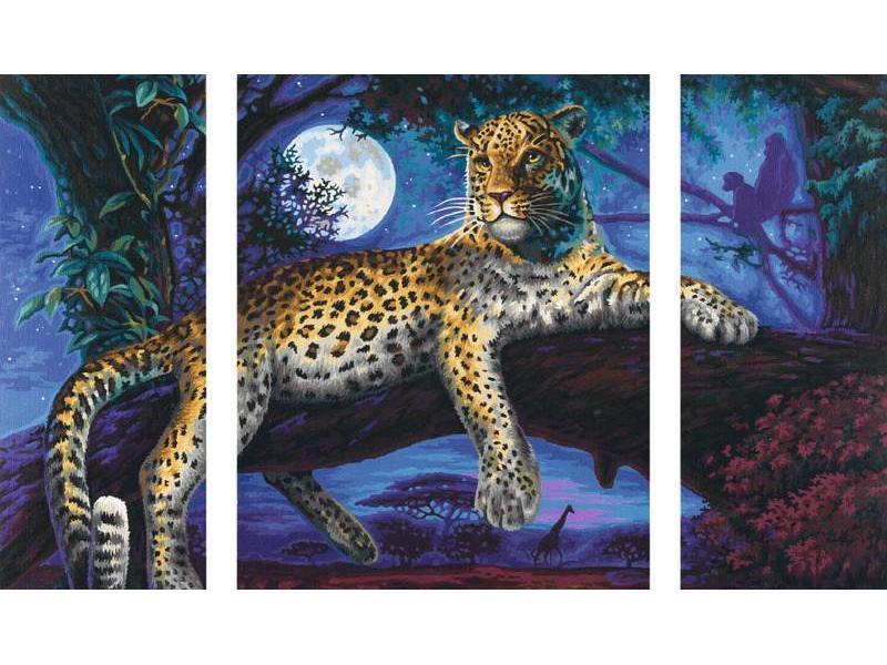 schipper peinture aux numeros chasseur dans la nuit le leopard cadre 50 80. Black Bedroom Furniture Sets. Home Design Ideas