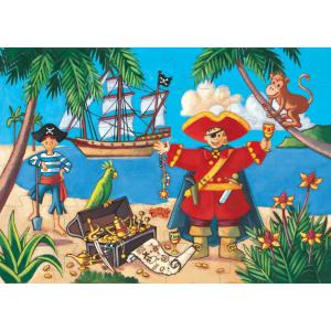 Djeco - DJ07220 - Puzzle silhouettes Le pirate et son trésor - 36 pièces (1773)