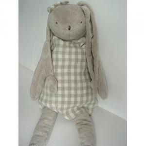 Dimpel - 892567 - Peluche lapin vêtement lin LOUELLE 45 cm blanc-beige gris (172959)