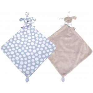 Dimpel - 820573 - Doudou mouchoir chien attache-tétine FIFI PP bleu & beige gris (173273)
