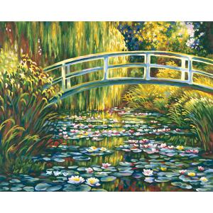 Schipper - 609130620 - Peinture aux numeros - L 'etang de nenuphars /pont japonais d 'apres Monet - Cadre 40/50 (175441)