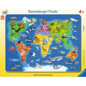 Ravensburger - 6641 - Puzzle cadre 30-48 pièces - Les animaux dans le monde (180429)