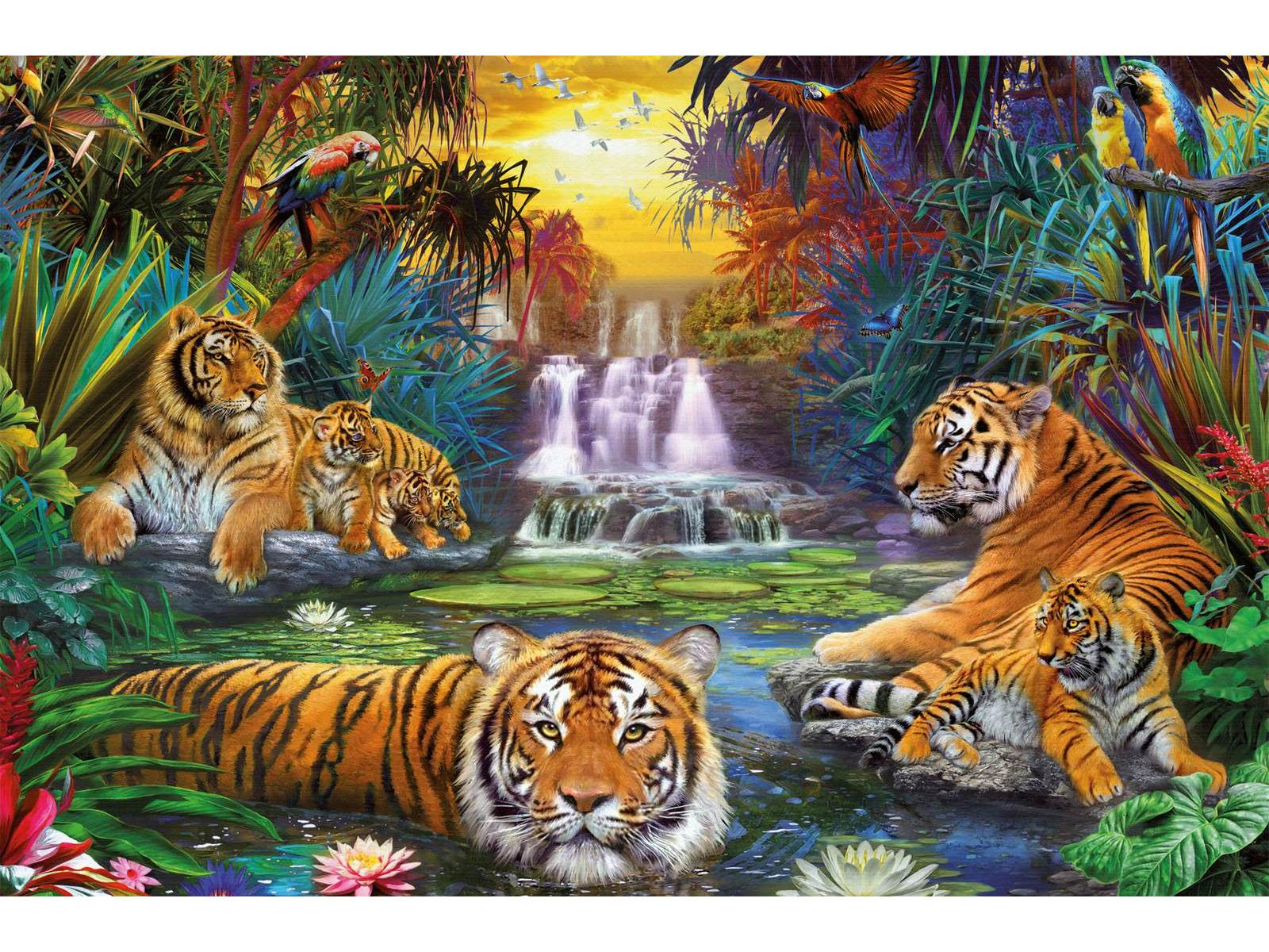 ravensburger puzzle 3000 pi ces tigres au coin de l 39 eau. Black Bedroom Furniture Sets. Home Design Ideas