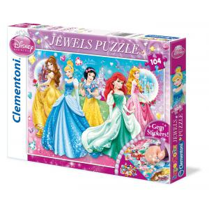 Clementoni - 20077 - Puzzles 104 Pièces Glitter/Jewels/Brillant - JEWELS - Princess Twinkled Ladies (Ax1) (185031)