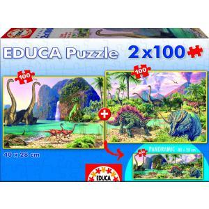 Educa - 15620 - Puzzle 2x100 dino world (186999)