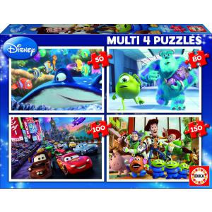 Disney - 15615 - Puzzle Multi 4 in 1 Pixar (Némo-Monsters- Cars-Toy Story) (187043)