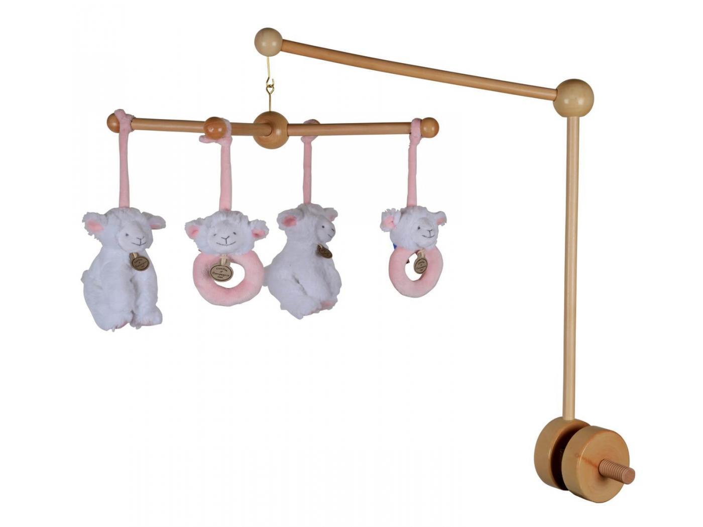 doudou et compagnie mobile musical bois agneau rose cm. Black Bedroom Furniture Sets. Home Design Ideas