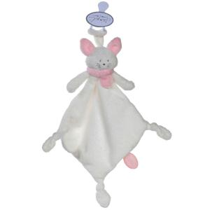 Dimpel - 822003 - Doudou chat attache-tétine Cleo blanc & rose (199739)