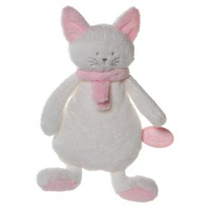 Dimpel - 822016 - Cleo doudou plat chat - blanc et rose (199741)
