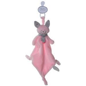 Dimpel - 822042 - Cléo doudou chat attache-tétine - rose et gris-clair (199745)