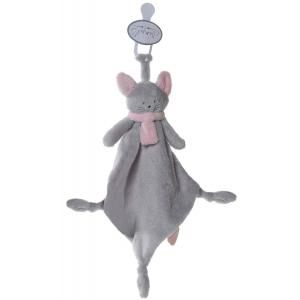 Dimpel - 822081 - Doudou chat attache-tétine Cleo gris clair & rose (199751)