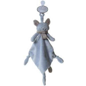 Dimpel - 822198 - Doudou chat attache-tétine Cleo bleu & beige gris (199757)