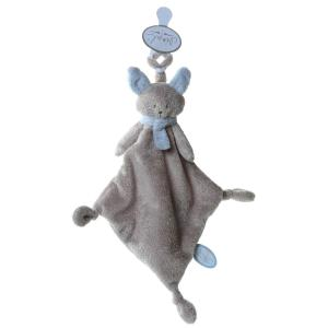 Dimpel - 822237 - Cléo doudou chat attache-tétine - beige-gris et bleu (199763)