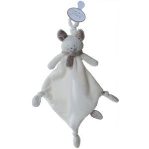 Dimpel - 822276 - Doudou chat attache-tétine Cleo blanc & beige gris (199769)