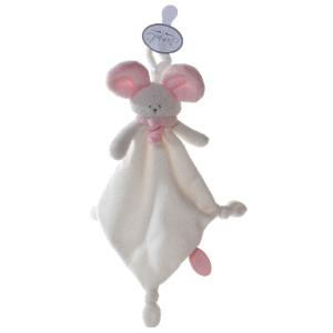 Dimpel - 822315 - Doudou souris attache-tétine Mona blanc & rose (199835)
