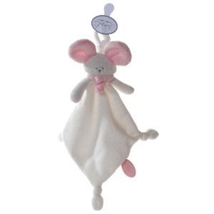 Dimpel - 822315 - Mona doudou souris attache-tétine - blanc et rose (199835)