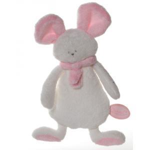 Dimpel - 822328 - Peluche souris crepe Mona blanc & rose (199837)