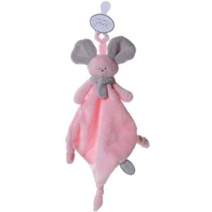Dimpel - 822354 - Mona doudou souris attache-tétine - rose et gris-clair (199841)