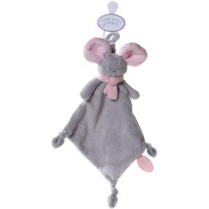 Dimpel - 822393 - Doudou souris attache-tétine Mona gris clair & rose (199847)