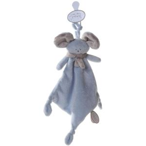 Dimpel - 822510 - Doudou souris attache-tétine Mona bleu & beige gris (199853)