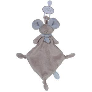 Dimpel - 822549 - Doudou souris attache-tétine Mona beige gris & bleu (199859)