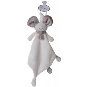Dimpel - 822588 - Doudou souris attache-tétine Mona blanc & beige gris (199865)