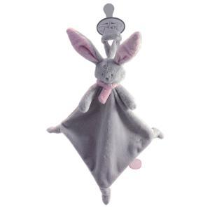 Dimpel - 822705 - Doudou lapin attache-tétine Nina gris clair & rose (199887)