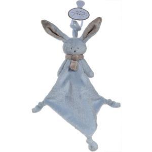 Dimpel - 822822 - Doudou lapin attache-tétine Nina bleu & beige gris (199893)