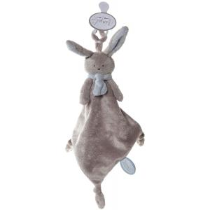 Dimpel - 822861 - Nina doudou lapin attache-tétine - beige-gris et bleu (199899)