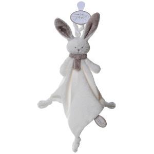 Dimpel - 822900 - Doudou lapin attache-tétine Nina blanc & beige gris (199905)