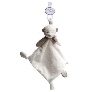 Dimpel - 882570 - Doudou ours attache-tétine Noann blanc (199921)