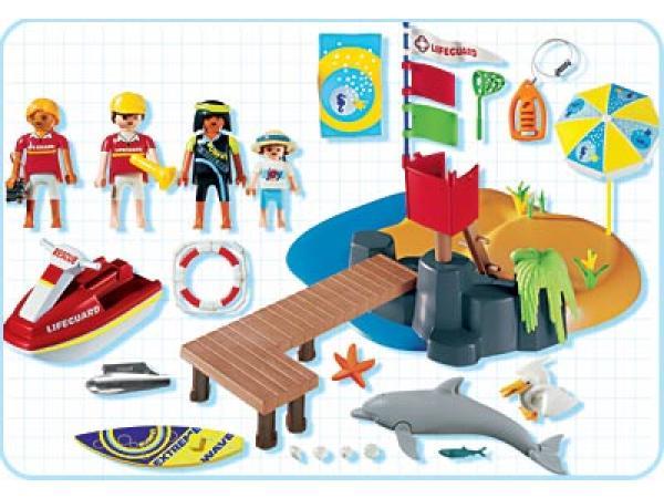 playmobil vacanciers et poste de surveillance. Black Bedroom Furniture Sets. Home Design Ideas
