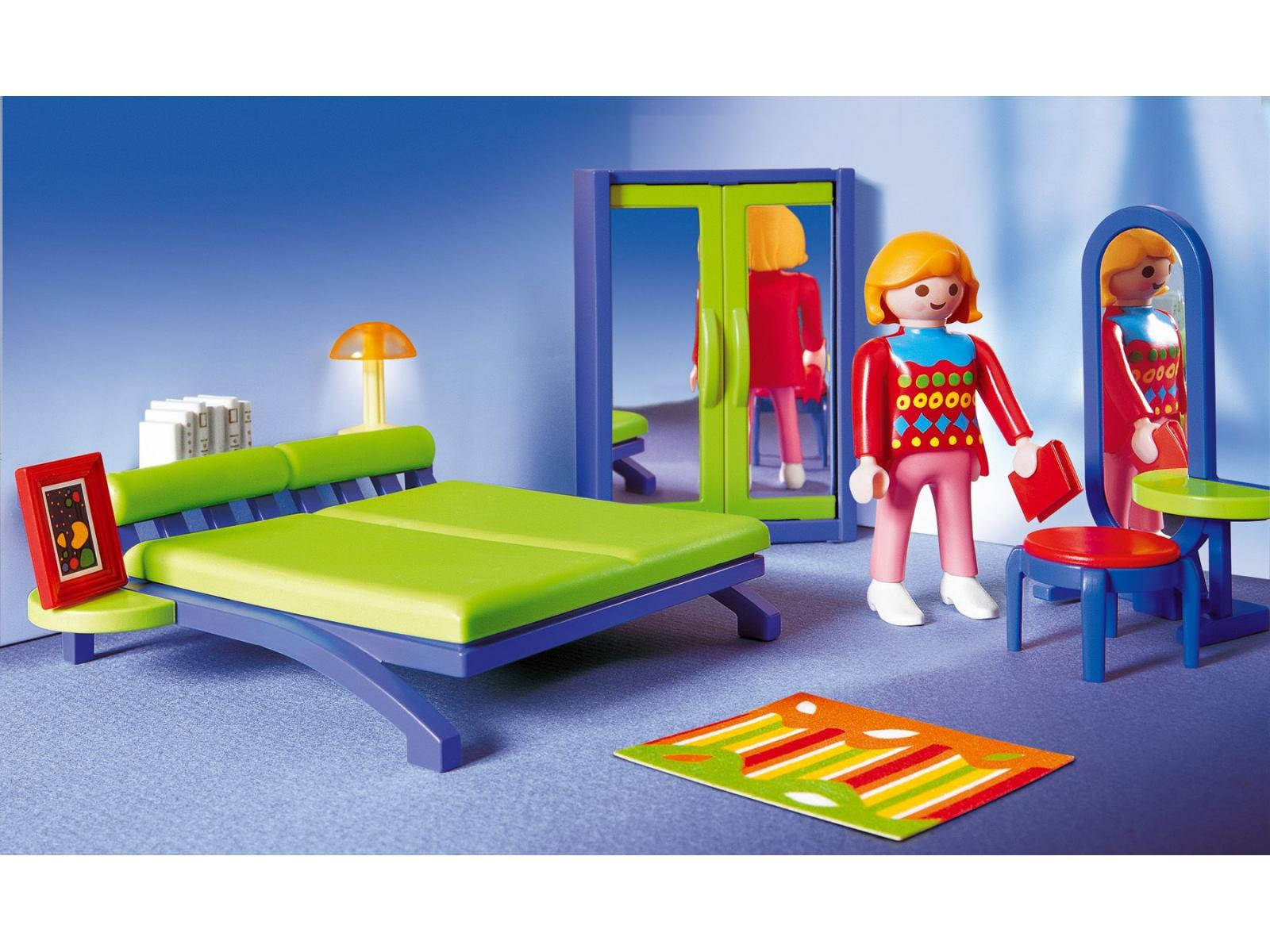 Playmobil maman avec chambre moderne for Lit parental moderne