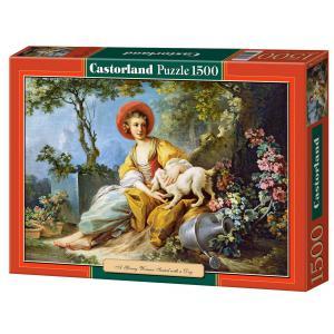 Castorland - 151219 - Puzzle 1500 pièces - Une Jeune Femme Assise avec un Chien (207148)