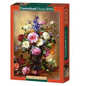 Castorland - 102617 - Puzzle 1000 pièces - Roses dans un vase bleu, Albert Williams (207456)