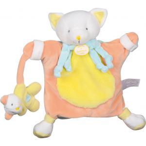 Doudou et compagnie - DC2569 - Marionnette microfibre  chat jaune (215936)