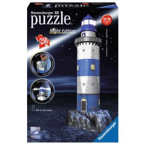 Ravensburger - 12577 - Puzzle 3D Building 216 pièces - Phare - night edition (219952)