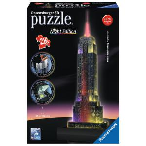 Ravensburger - 12566 - 3D puzzle Building 216 pièces - Empire State Building - Night Edition (219954)