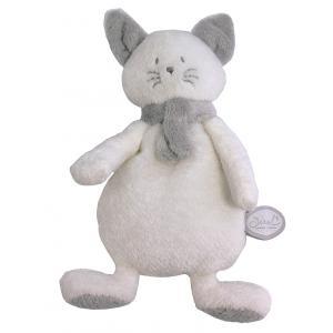 Dimpel - 822133 - Peluche chat crepe Cleo blanc & gris clair (225148)