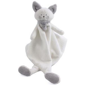 Dimpel - 822146 - Cléo doudou chat - blanc et gris-clair (225150)