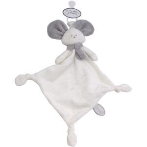 Dimpel - 822432 - Doudou souris attache-tétine Mona blanc & gris clair (225166)