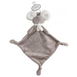 Dimpel - 822471 - Doudou souris attache-tétine Mona beige gris & blanc (225172)