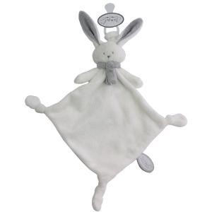 Dimpel - 822744 - Doudou lapin attache-tétine Nina blanc & gris clair (225184)